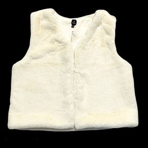 Echo Off White Faux Fur Vest
